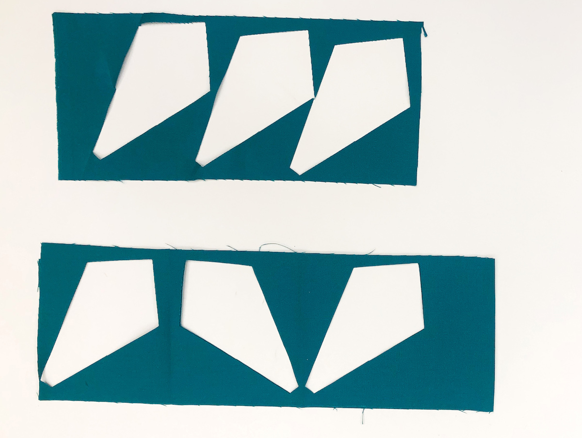 fabric saving kite shapes cut in fabric