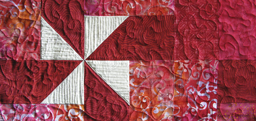 Use free motion quilting on table runner