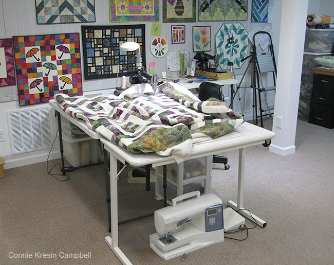 Sewing machine setup for quilting