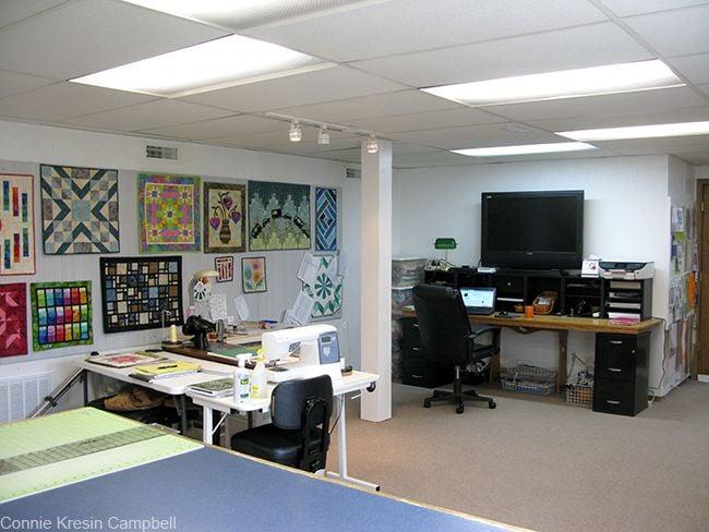 Computer desk and lighting in my quilt studio