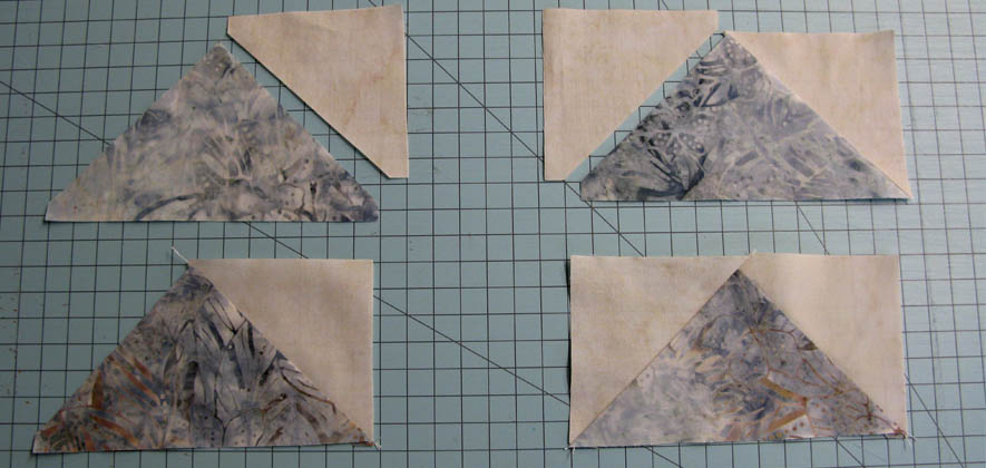 Flying Geese units for the Winter Blues table runner