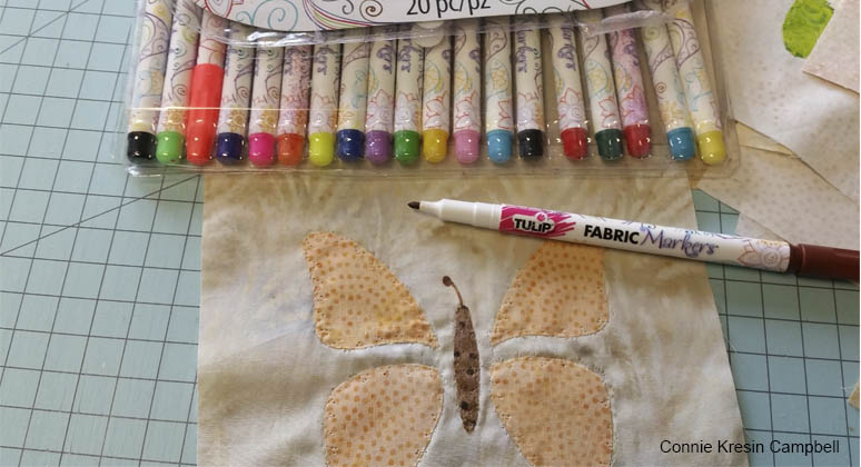 Use fabric markers on applique blocks
