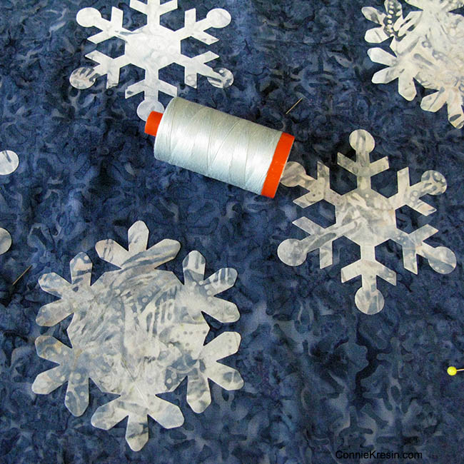 Applique with Aurifil thread for the Snowflake Blues Table topper