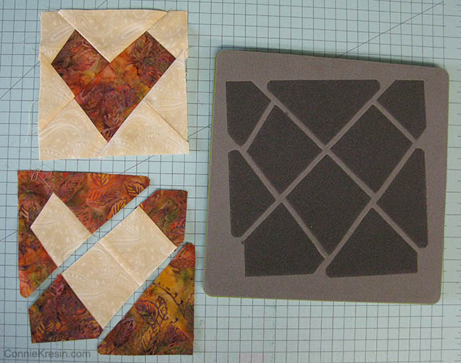 Make 2 of the blocks with the cream wonky heart and 2 with the brown multi-print wonky heart.