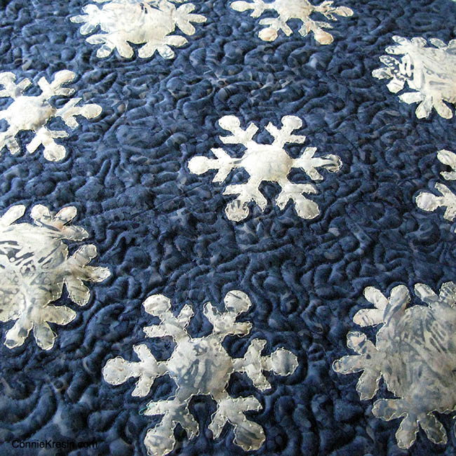 Snowflake Blues Table topper with free motion applique