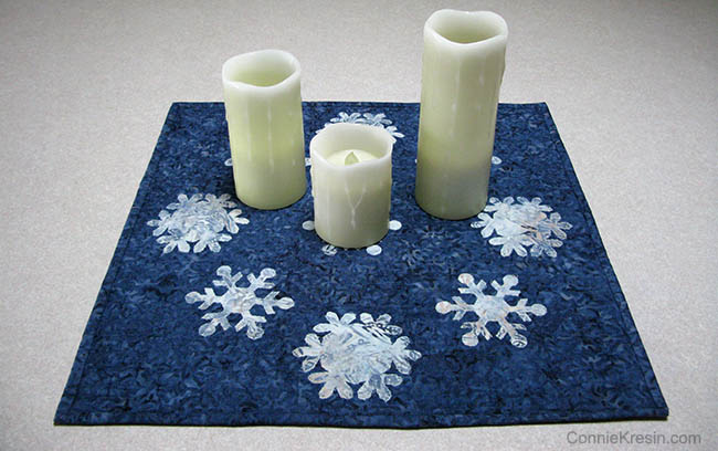 Snowflake Blues Table Topper with candles
