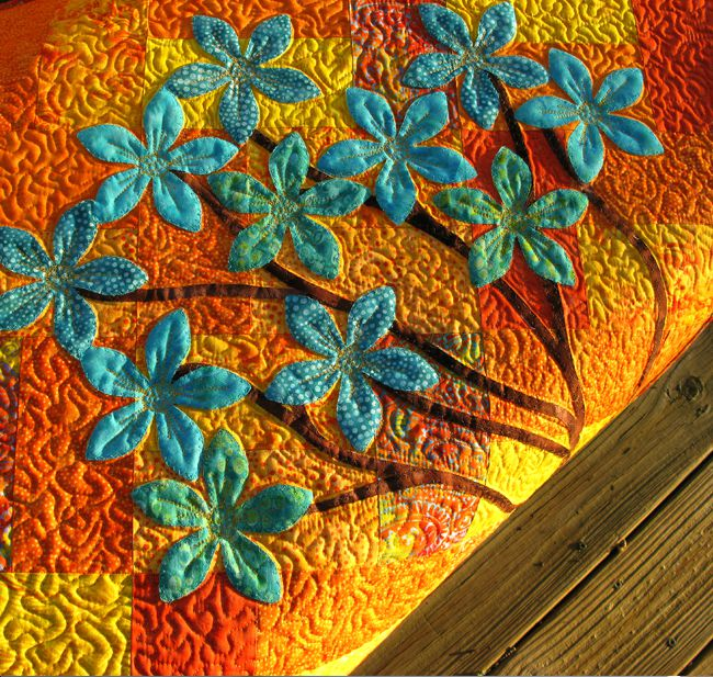 Applique the flowers and stems