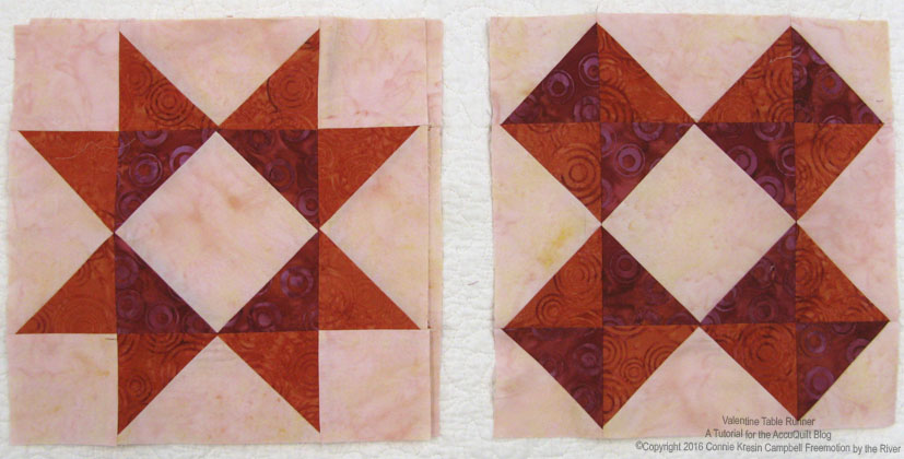 Completed blocks made with batik fabrics for table runner