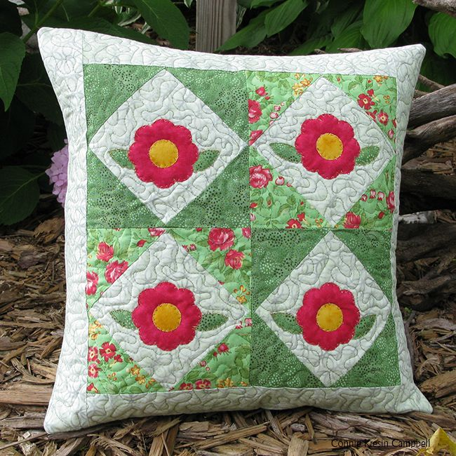 Rosy Applique Pillow fast and easy tutorial using AccuQuilt GO! QUBE