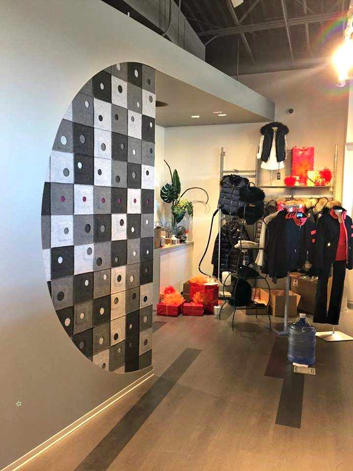 Entry at She.la women's clothing store designed by Eddy Santamaria and made by Khan - photo by Contrivium Design & Urbanism