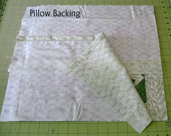 adding the back of the pillow