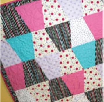 tumbler girl quilt pink blue