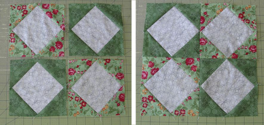 Sewing the triangles and squares blocks together