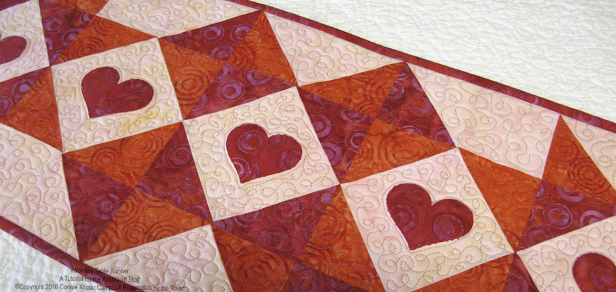 Closeup view of the quilting on the Valentine Table Runner