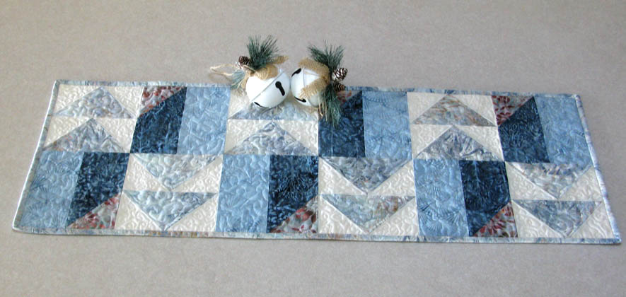 Winter Blues table runner for the holidays