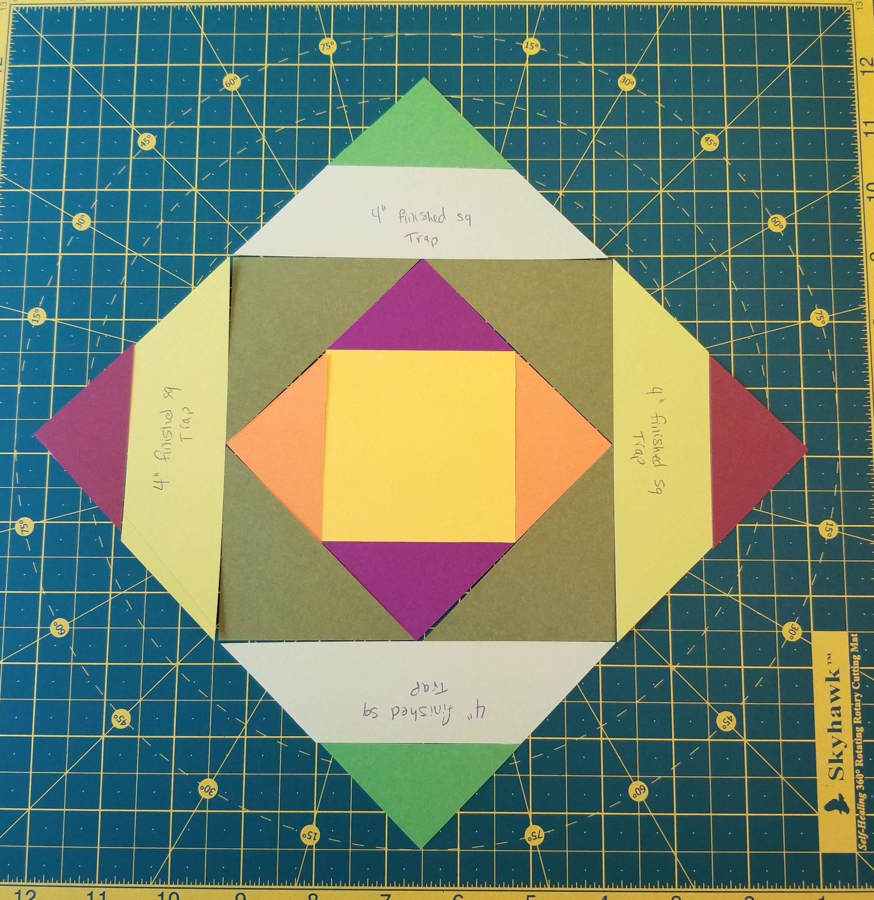 Complete quilt block on cutting mat