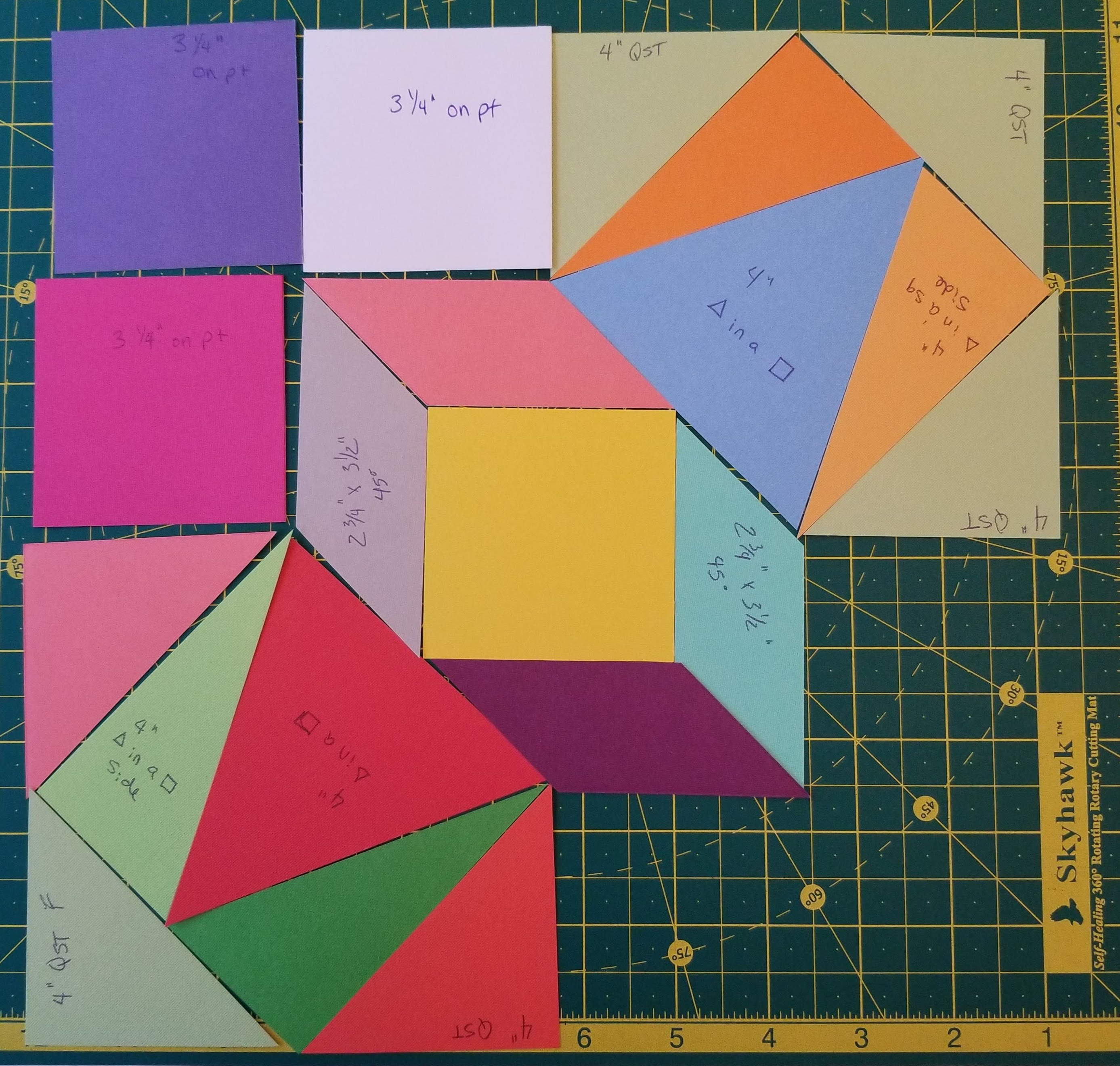 Unique quilt block made of different shapes in GO Qube 8 inch mix and match block