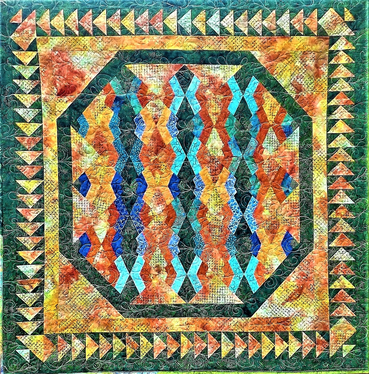 finished spider web flying goose quilt